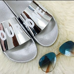 Summer clearance final ⬇ Silver pool slide sandals